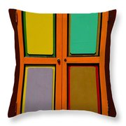 Bright Colorful Window Shutters With Four Panels Throw Pillow
