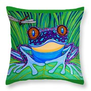 Bright Eyed Frog Throw Pillow by Nick Gustafson