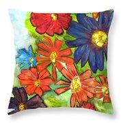 Bright Flower Bunch Throw Pillow