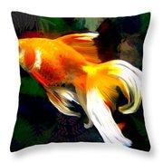 Bright Golden Fish In Dark Pond Throw Pillow