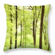 Bright Green Forest In Spring With Beautiful Soft Light  Throw Pillow
