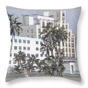 Bright Light Miami Beach Throw Pillow