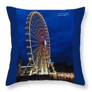 Bright Night Ferris Wheel Throw Pillow by Stwayne Keubrick