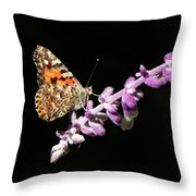 Painted Lady Butterfly On Purple Flower Throw Pillow