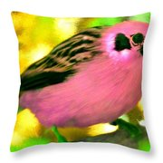 Bright Pink Finch Throw Pillow
