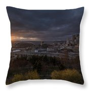 Bright Seattle Sunstar Dusk Skyline Throw Pillow