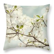 Bright White Dogwood Flowers Against A Pastel Blue Sky With Dreamy Bokeh Throw Pillow