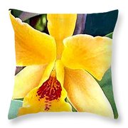 Bright Yellow And Red Cattleya Orchid Throw Pillow