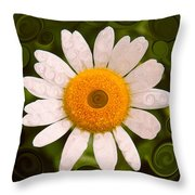 Bright Yellow And White Daisy Flower Abstract Throw Pillow
