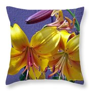 Bright Yellow Lilies Throw Pillow