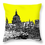 Dark Ink With Bright Yellow London Skies Throw Pillow
