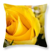 Bright Yellow Rose Throw Pillow