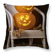 Brightly Lit Jack O Lanterns Throw Pillow