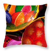 Brightly Painted Bowls At A Market - Mexico - Travel Photography By David Perry Lawrence Throw Pillow