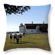 Brighton Barn And Horses Throw Pillow