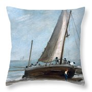 Brighton Beach With Fishing Boats Throw Pillow