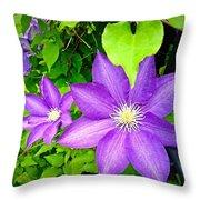 Brilliant Blue Clematis Throw Pillow