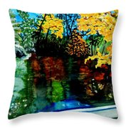 Brilliant Mountain Colors In Reflection Throw Pillow