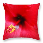 Brilliant Red Hibiscus Throw Pillow