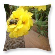 Brilliant Rose Flower With Buzzy Bee Throw Pillow