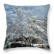 Brilliant Snow Coated Tree Throw Pillow
