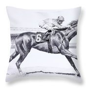 Bring On The Race Zenyatta Throw Pillow by Joette Snyder