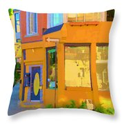 Bring Your Own Wine Restaurant Vents Du Sud Rue Roy Corner French Cafe Street Scene Carole Spandau Throw Pillow