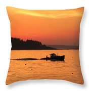 Bringing In The Lobster Pots Throw Pillow