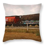 Bringing In The Wheat Canadian Railroad Throw Pillow