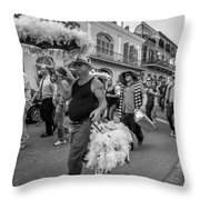 Bringing Up The Rear Monochrome Throw Pillow