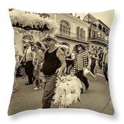 Bringing Up The Rear Sepia Throw Pillow