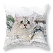 British Longhair Cat Christmas Time II Throw Pillow by Melanie Viola