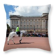 British Royal Guards Riding On Horse And Perform The Changing Of The Guard In Buckingham Palace Throw Pillow