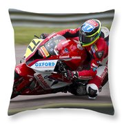 British Superbike Rider Barry Burrell   Throw Pillow