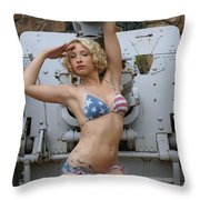 Brittany Usa Flag Bikini With Cannon Throw Pillow