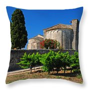 Brittany Vineyard And Monastery  Throw Pillow