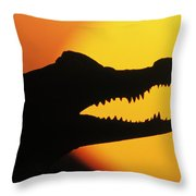 Broad-snouted Caiman  Throw Pillow