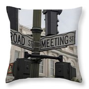 Broad Street And Meeting Street Charleston South Carolina Throw Pillow