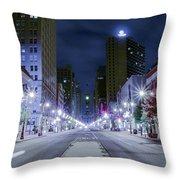 Broad Street At Night Throw Pillow