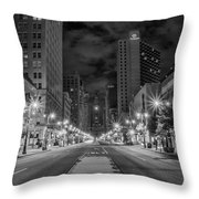 Broad Street At Night In Black And White Throw Pillow