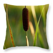Broadleaf Cattail Throw Pillow
