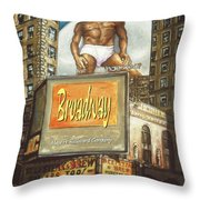 Broadway Billboards - New York Art Throw Pillow