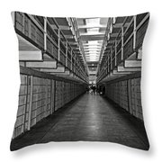 Broadway Walkway In Alcatraz Prison Throw Pillow by RicardMN Photography