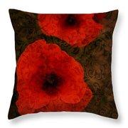 Brocade Textured Poppies Throw Pillow