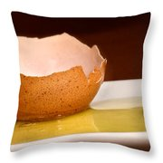 Broken Brown Egg  Throw Pillow