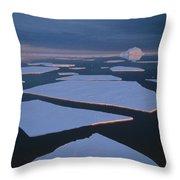 Broken Fast Ice Under Midnight Sun East Throw Pillow