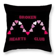 Broken Hearts Club Throw Pillow