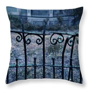 Broken Iron Fence By Old House Throw Pillow