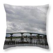 Broken Jetty And Franklin Roosevelt Memorial Bridge   Throw Pillow