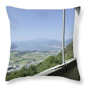 Broken Windows With Panoramic View Throw Pillow